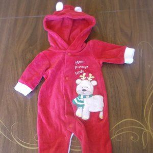 Red Christmas Footed Hooded One-Piece Suit 7 lbs